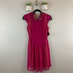 NWT Angie Womens Dress Size Small Pink Collar